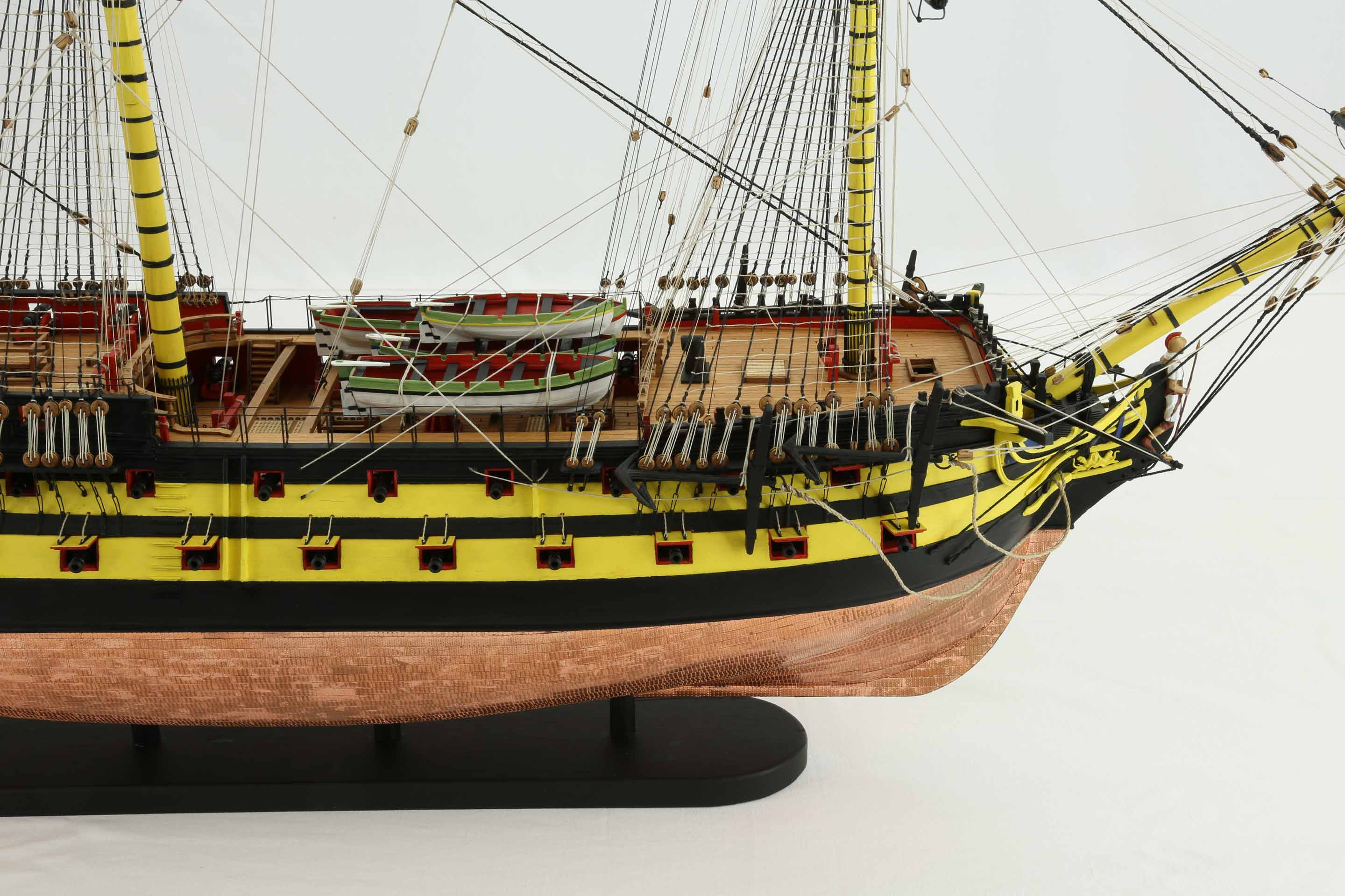 Close-up photos of ship model of English HMS Agamemnon of 1781