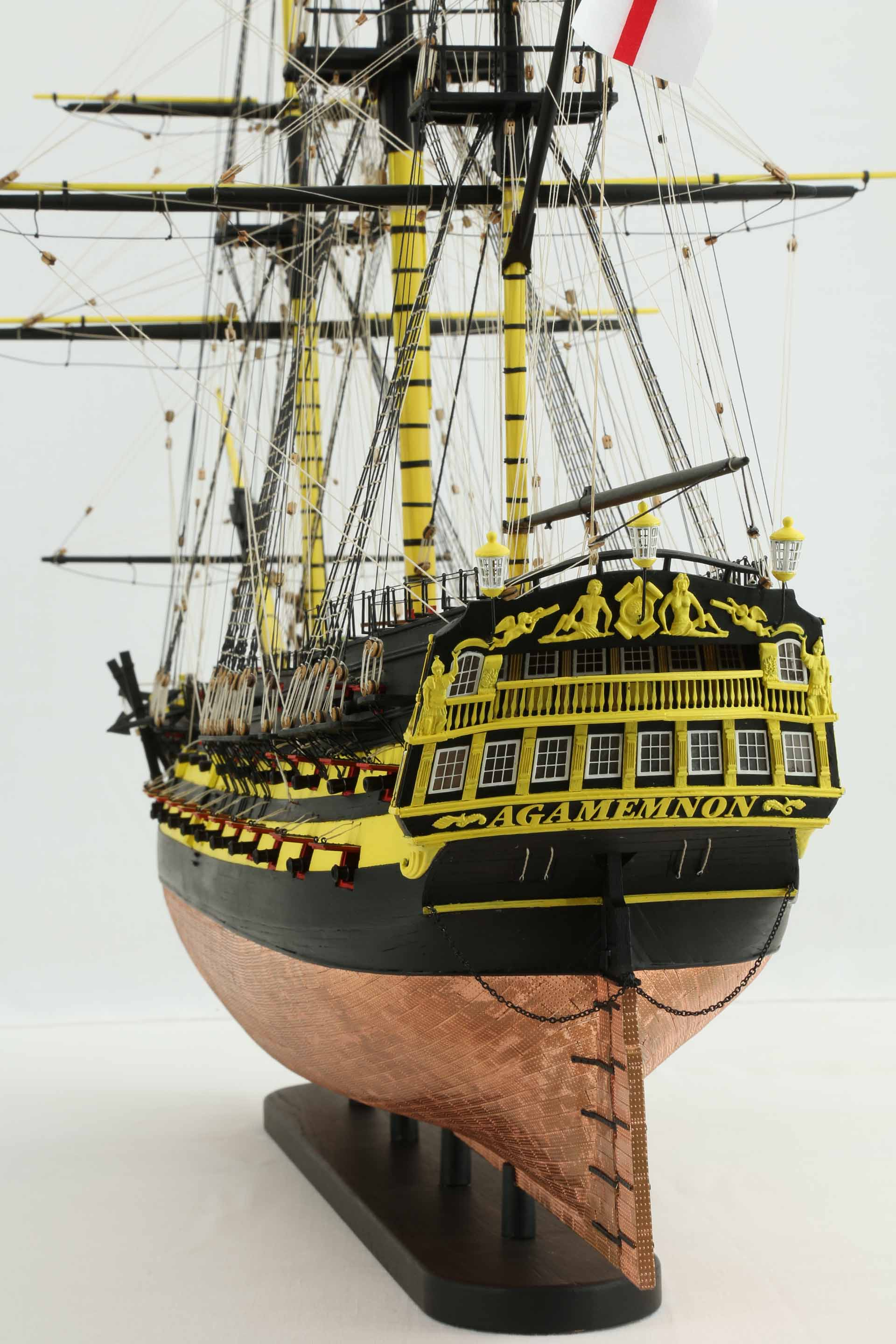 Close Up Photos Of Ship Model Of English HMS Agamemnon Of 1781