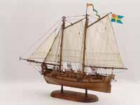 Schiffsmodell Norwegisches Kanonenboot Axel Thorsen von 1810.