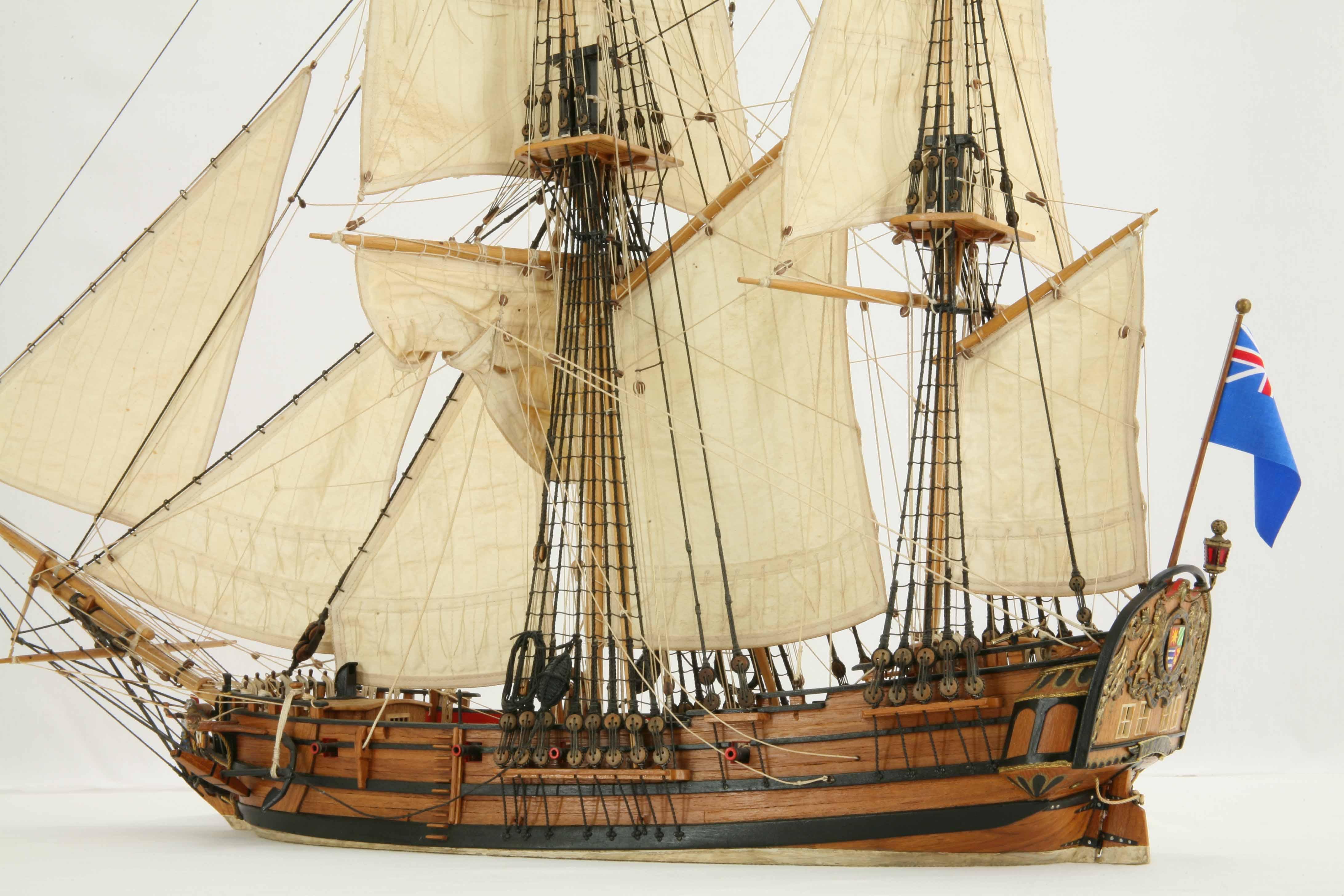 Photos ship model English bomb-ketch GLORY of 1760, details