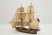 Schiffsmodell englische Brigg von 1750.