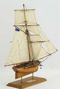 Ship model English cutter FLY of 1763