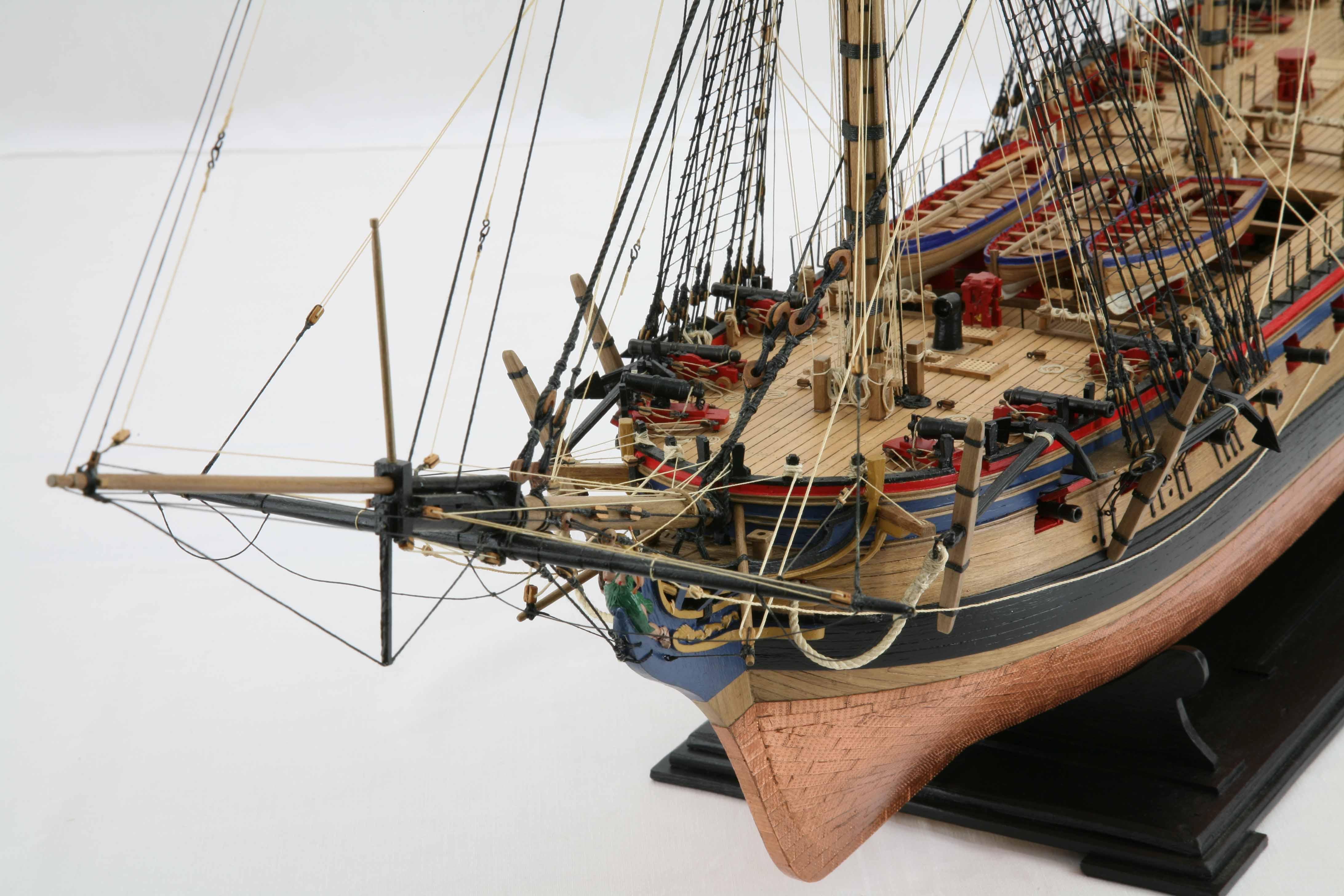 Photos of ship model frigate HMS Diana of 1794, close-up ...