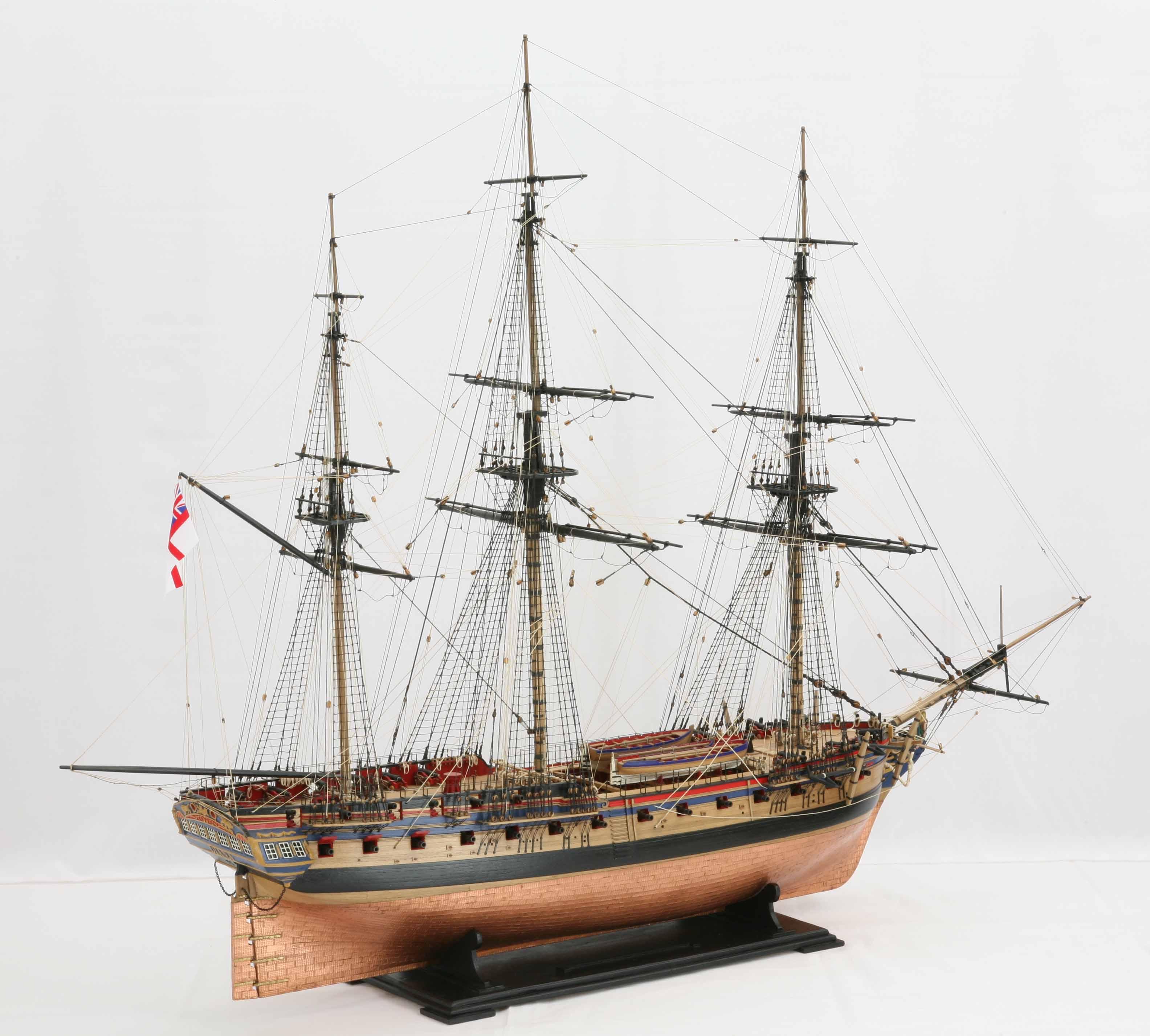 Photos of ship model frigate HMS Diana of 1794, views of ...