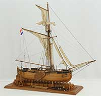 Model of Dutch gunboat of 1830
