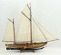 Model boat coastal gaff sail barge ELISABETH of 1860