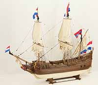 Ship model Dutch fluyt Zeehaen of 1639