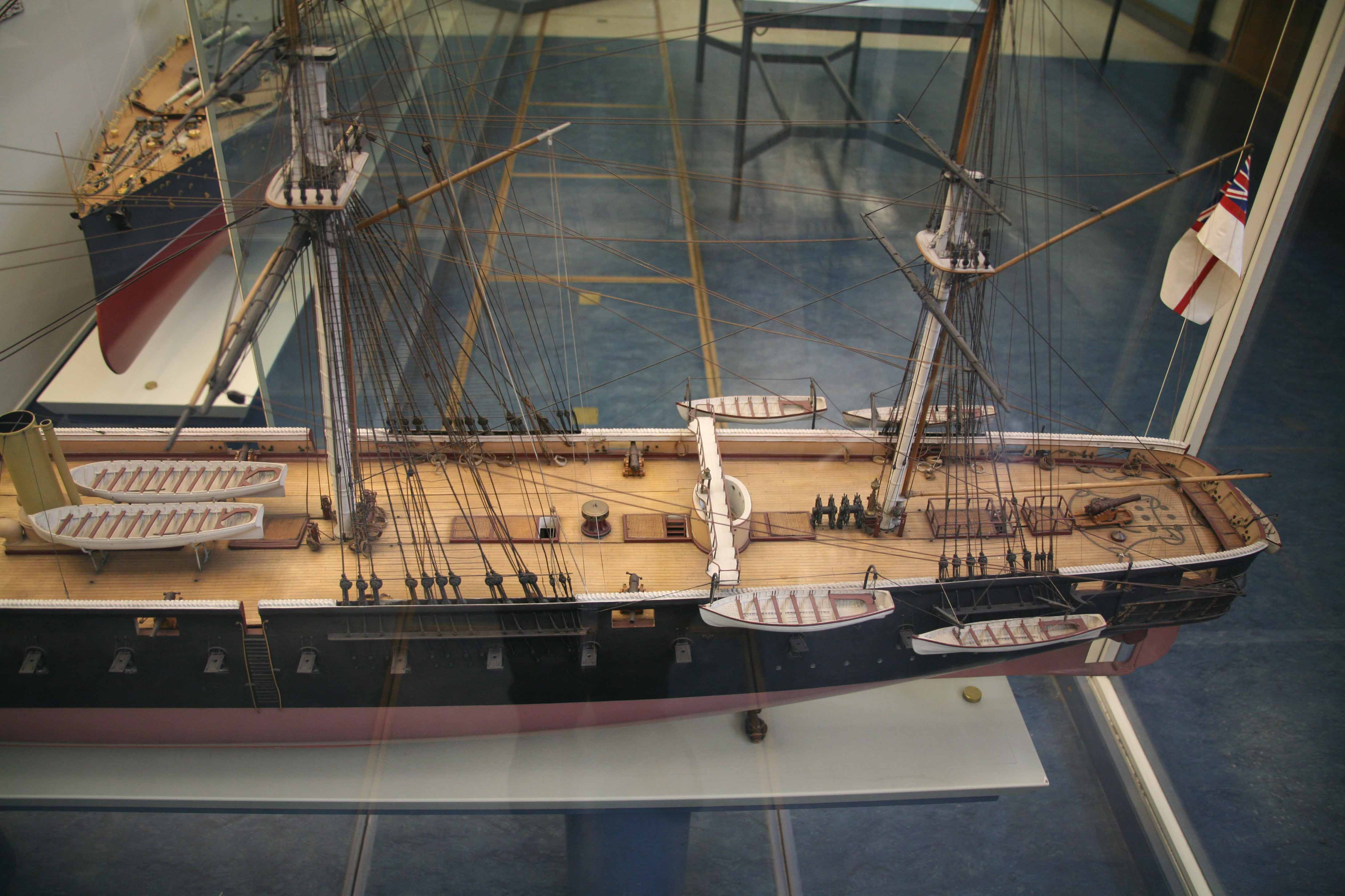 Photos of model of HMS Warrior, Science Museum, London
