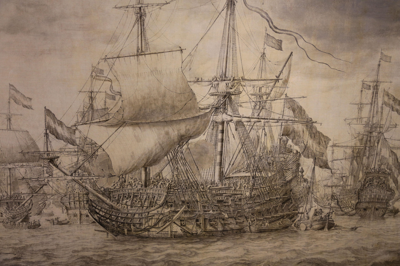 Photos The Eendracht, drawing Willem van de Velde the ...