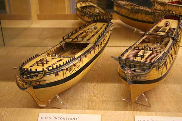 Photos Contemporary Models Of HMS Inconstant Of 1783 HMS Endymion 1779 HMS Achilles 1757 And