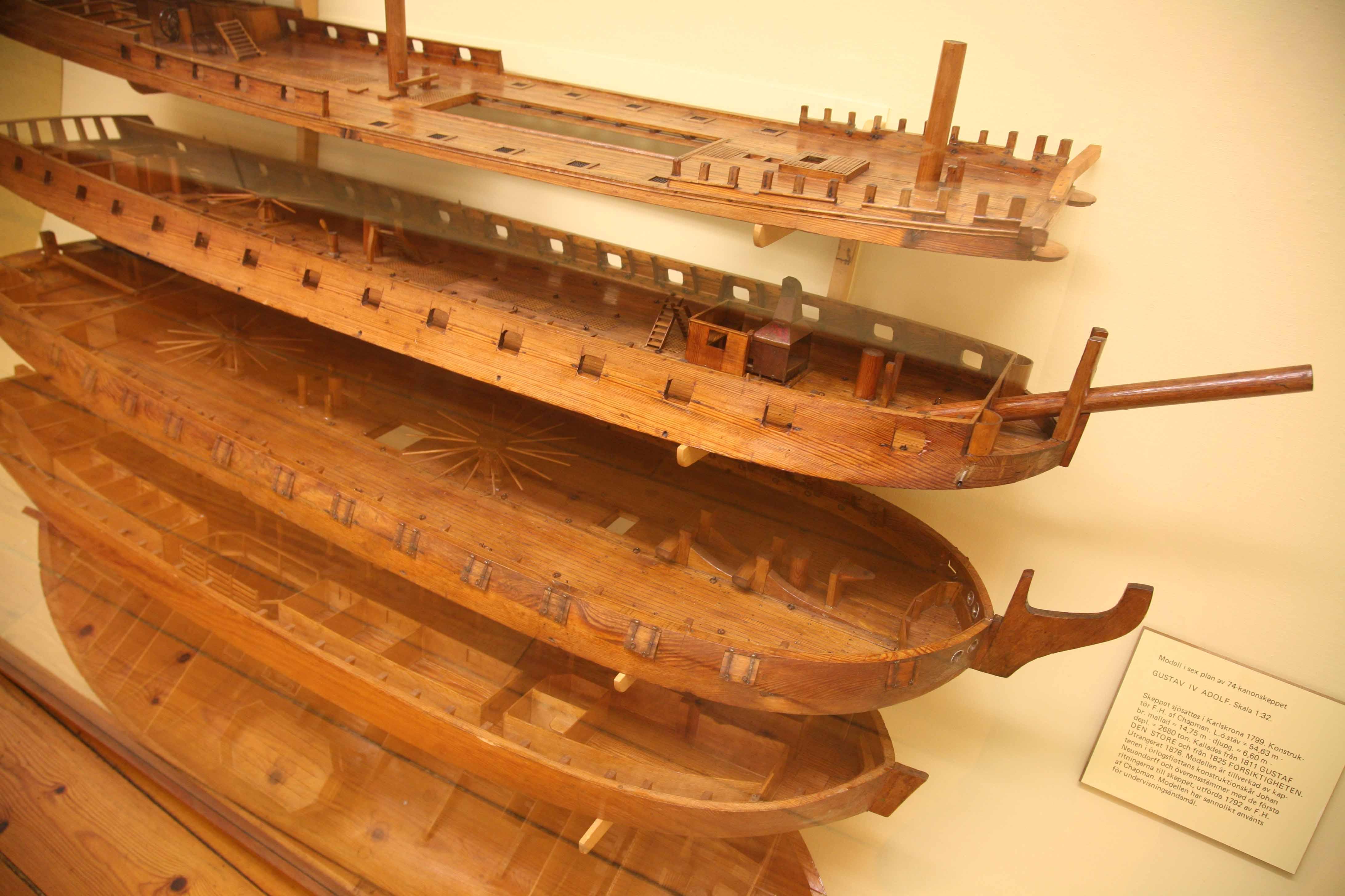 photos of of model of the six decks of the 74 gun ship