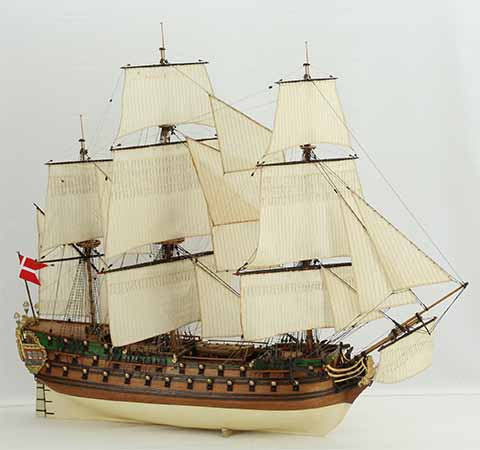 Wooden ship model Danish NORSKE LOEVE of 1765