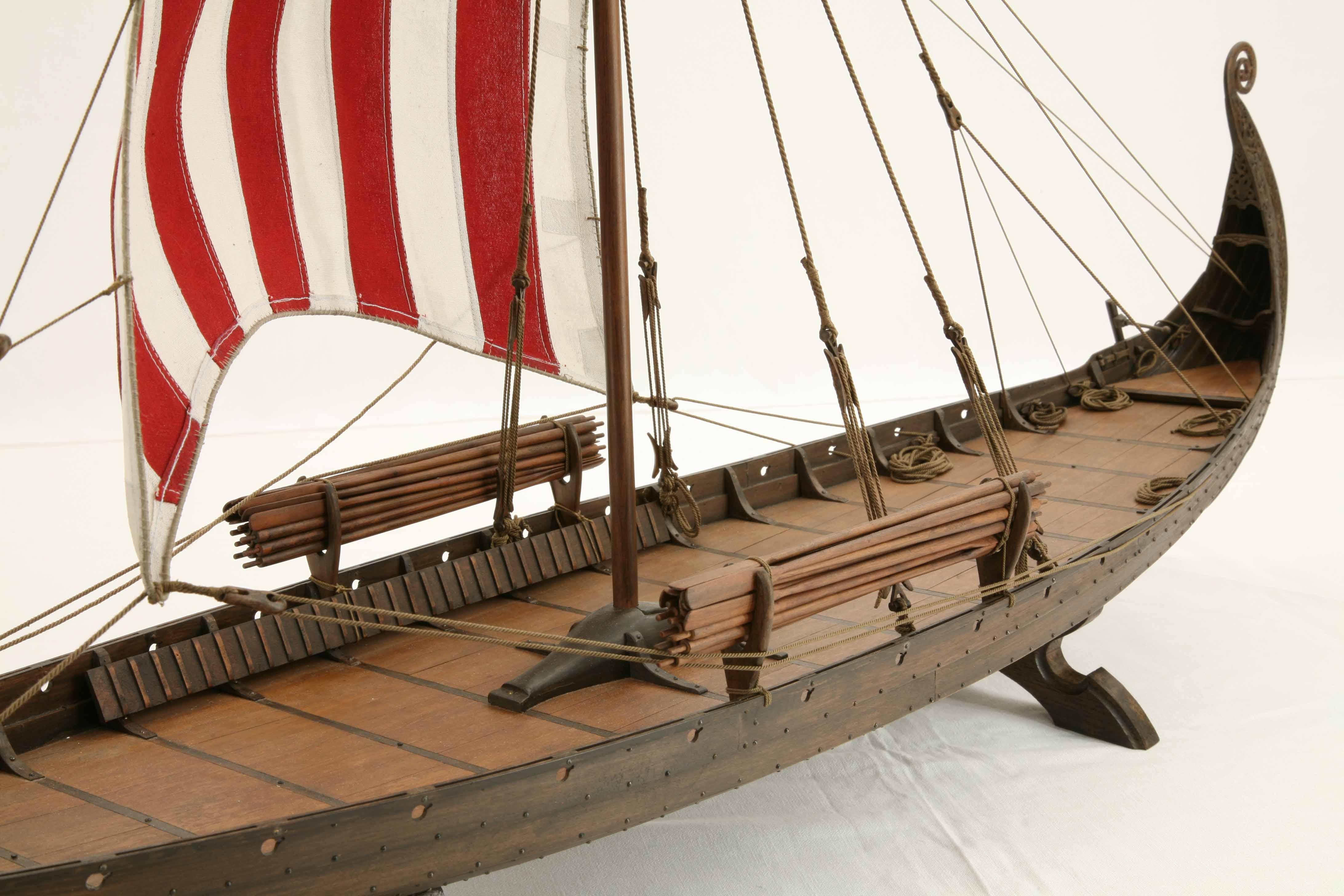 Close-up photos of model of Oseberg Ship, a Viking ship of ...