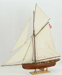 Sailing ship model American yacht Puritan of 1885