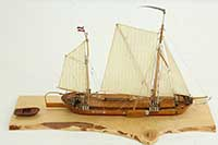 Ship model Rhine river barge GUTE HOFFNUNG of 19th century