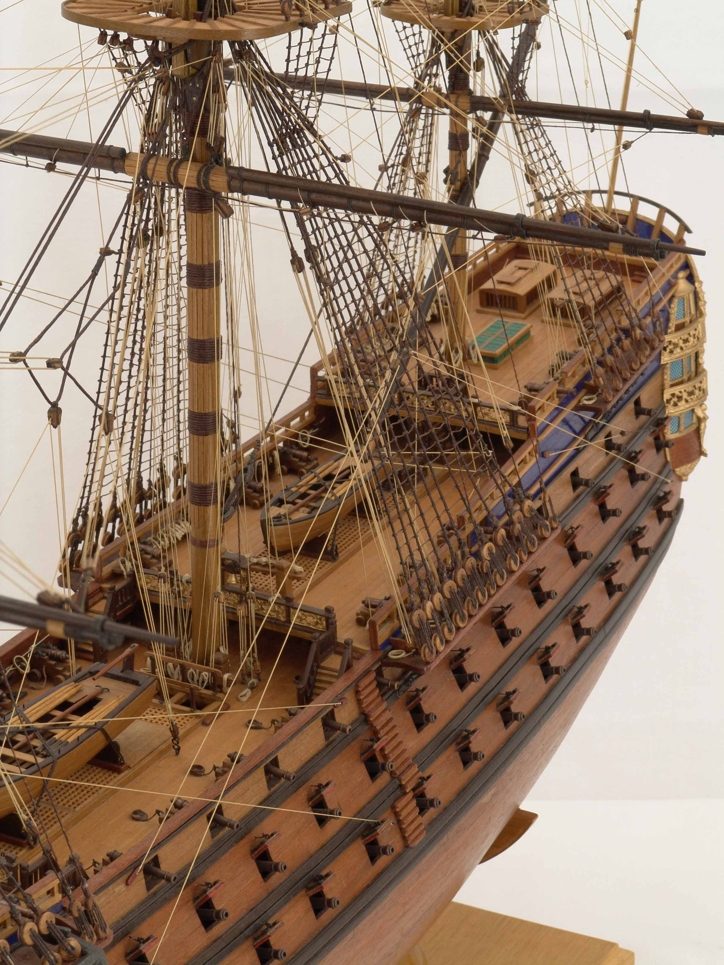 Close views of ship model Royal Louis