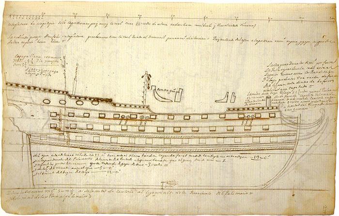 """Side view of the """"Nuestra Señora de la Concepción y de las Ánimas"""" by José Antonio de Gaztañeta"""