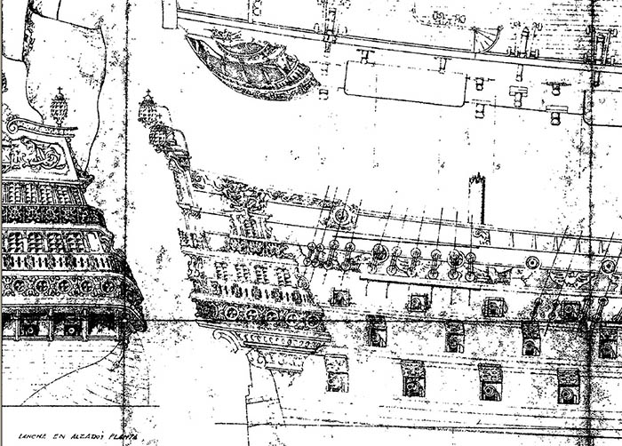 """Part of the first drawing of the """"San Felipe"""", published by the """"Departamento de Falanges del Mar""""."""