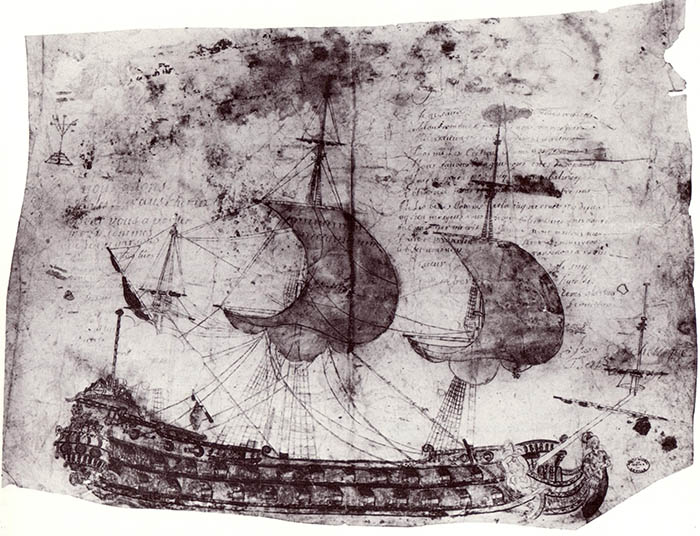 Drawing of a Spanish two-decker around 1700. Archive of Sevilla.