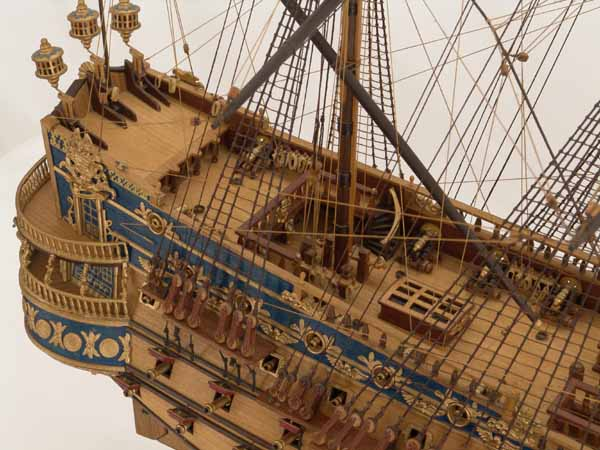 Close views of ship model San Felipe