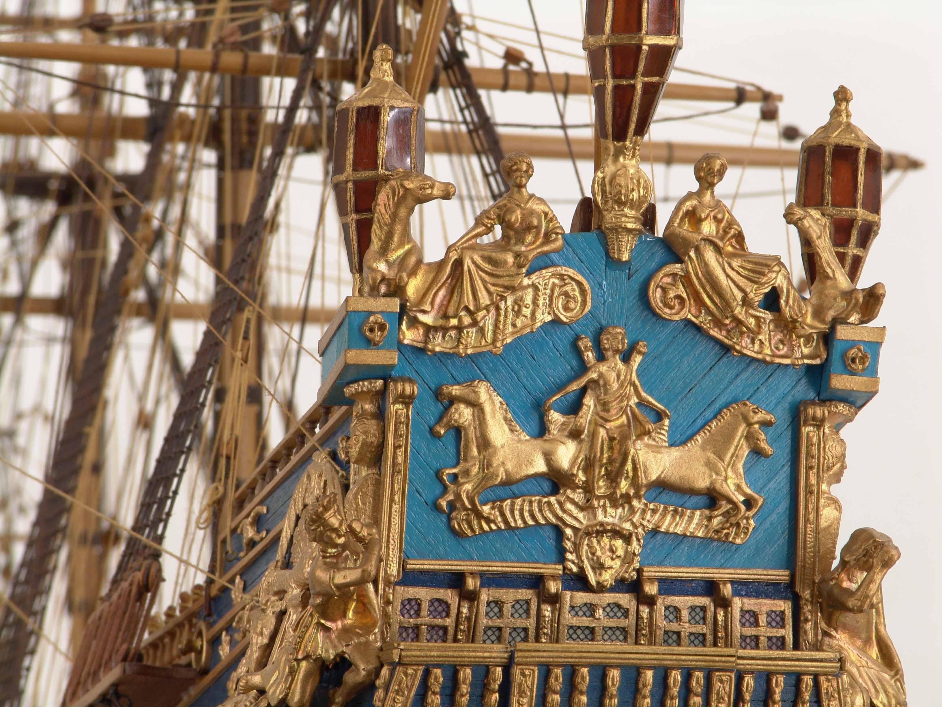 Detail views of ship model Soleil Royal
