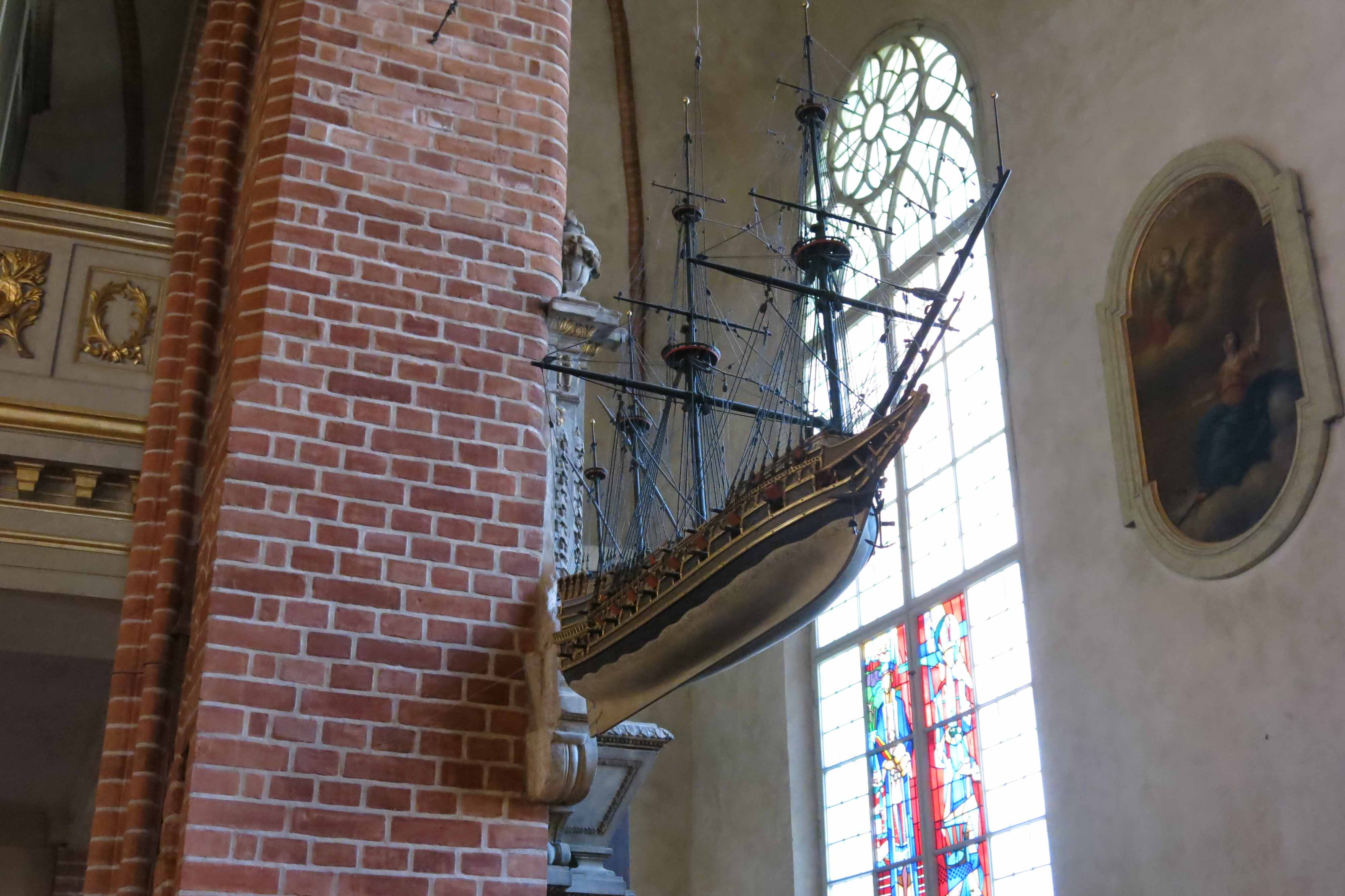 Photos of the votive ship in Storkyrkan (Cathedral), Stockholm