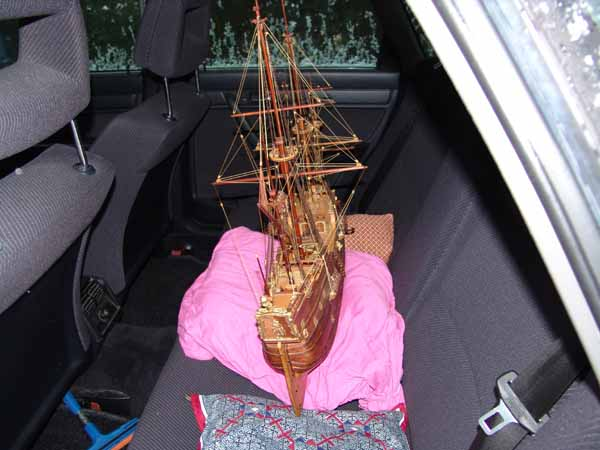 Transport of a ship model in a car -2