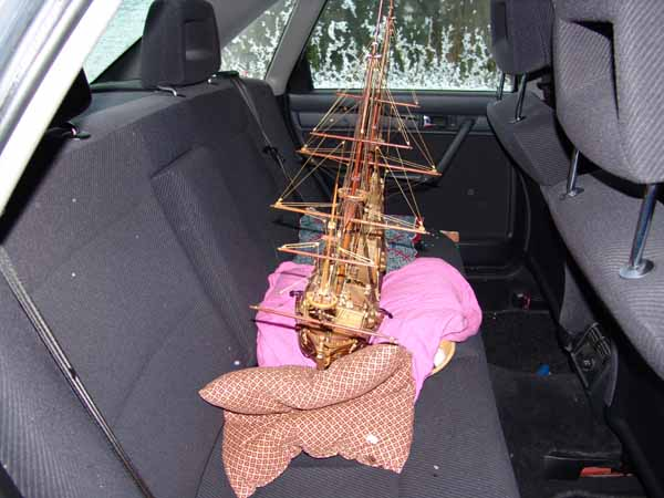 Transport of a ship model in a car