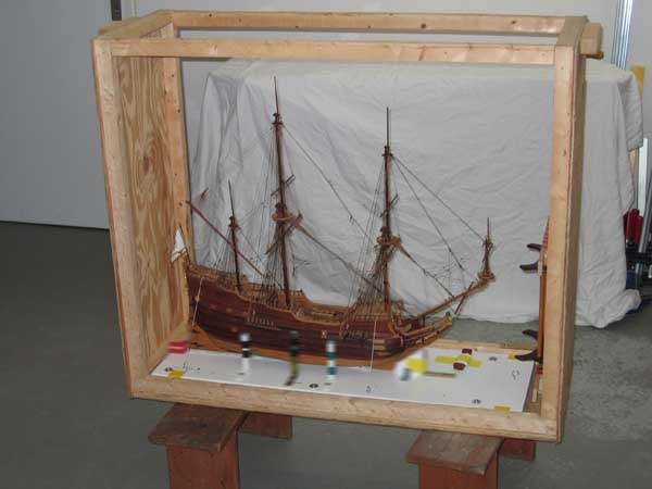 Sailing ship model in a somewhat smaller air cargo box