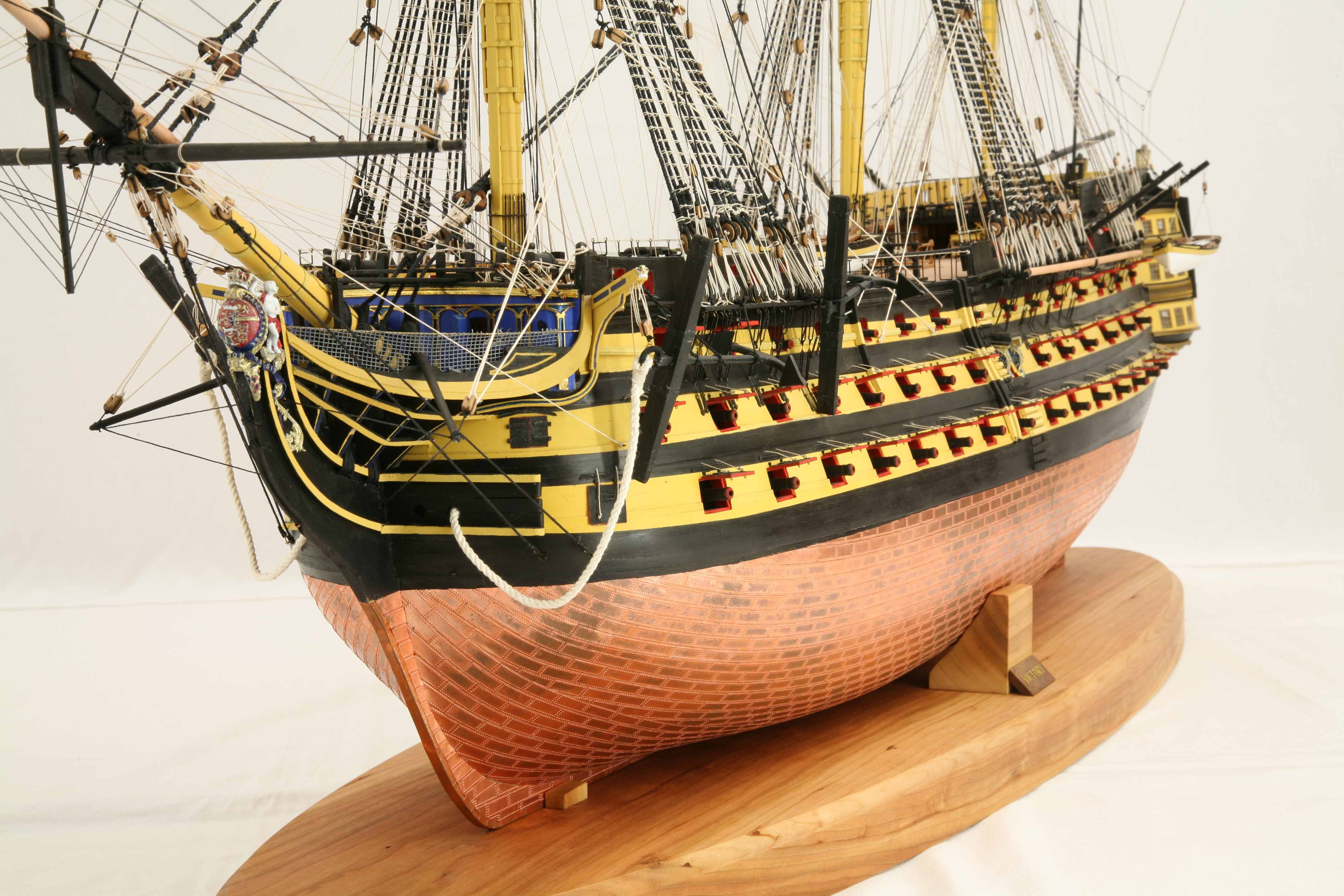 Close-up photos of model HMS Victory, 1 : 72 scale