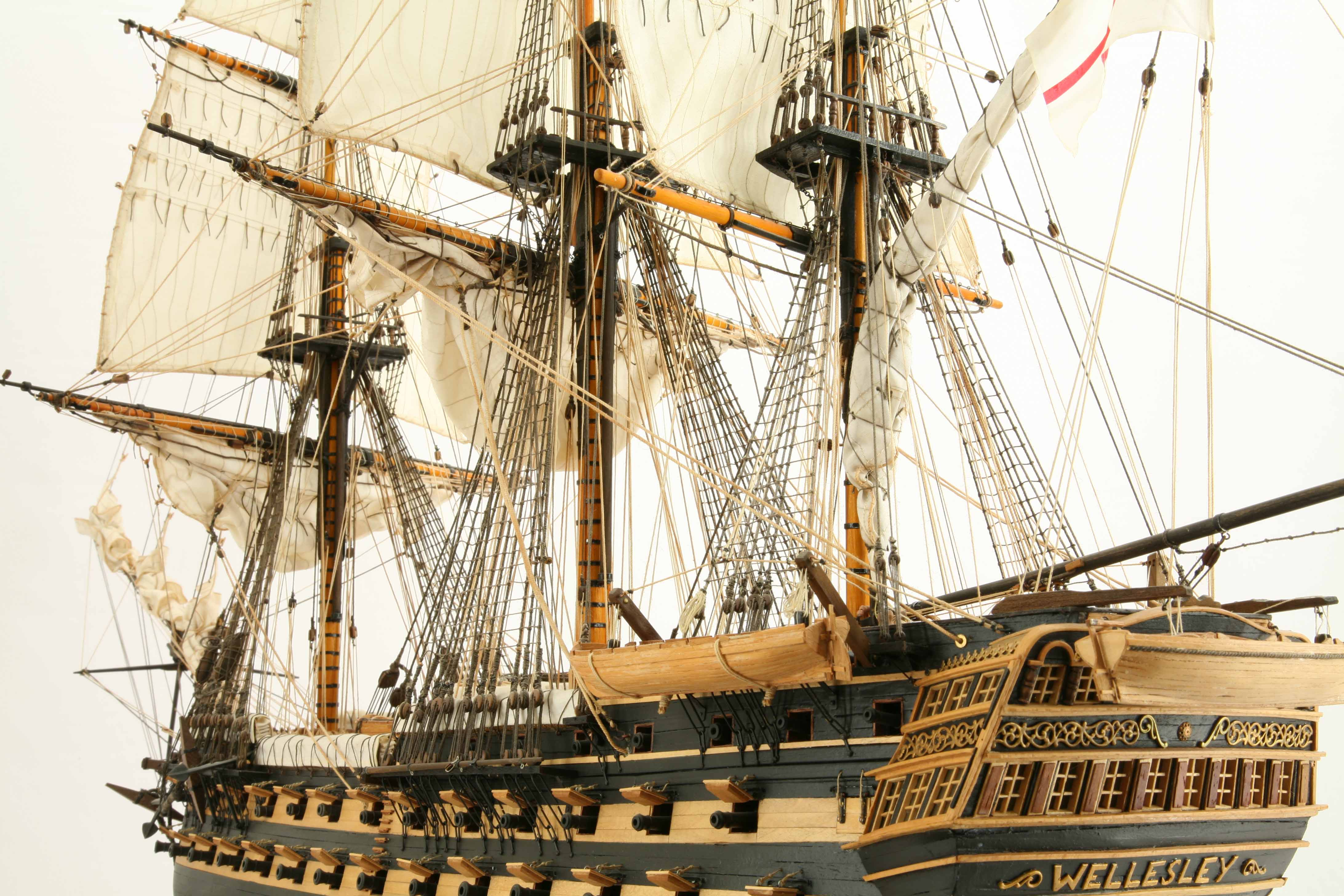 Close-up photos of ship model HMS Wellesley of 1815
