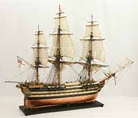 Ship model English 74 gun HMS Wellesley of 1815